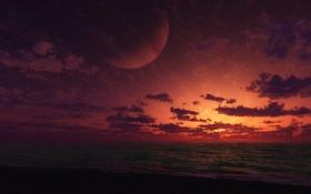 Обои закат, планета, море