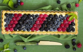 Картинка малина, черника, пирог, нож, салфетка, blueberry, raspberry