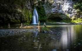 Обои природа, водопад, Switzerland, скульптуры, Tine de Conflens, La Sarraz