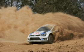 Обои Пыль, Volkswagen, Поворот, Занос, WRC, Rally, Ралли