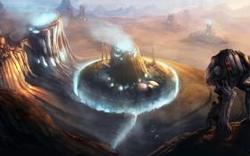 Обои планета, робот, арт, постройки, Homeworlds Cover Illustration, ramhak