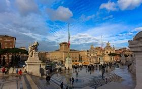 Обои небо, люди, Рим, Италия, скульптура, площадь Венеции, Витториано