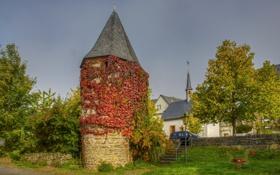 Картинка город, фото, башня, дома, Германия, Ediger-Eller