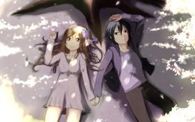 Обои девушка, аниме, лепестки, сакура, арт, парень, бант