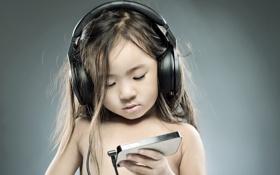 Обои музыка, настроение, наушники, девочка