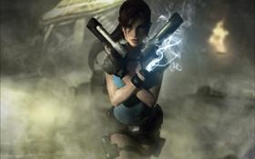 Картинка девушка, туман, пистолеты, lara croft, tomb raider
