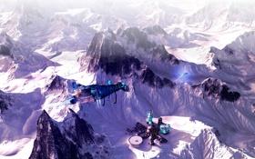 Картинка снег, горы, delta aquarii, ice station