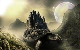 Обои замок, горы, From the Ocean Depths