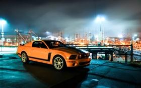 Обои ночь, огни, жёлтый, Mustang, Ford, Форд, Мустанг