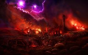 Обои огонь, пейзаж, звезды, пожар, ночь, забор, тучи