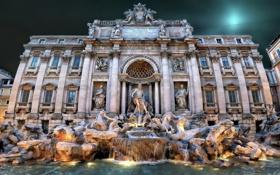Обои огни, вечер, Рим, Италия, фонтан Треви