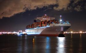 Картинка море, ночь, город, огни, корабль, буй, порт