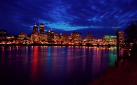 Обои небо, вода, город, огни, отражение, вечер, орегон