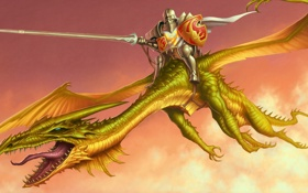 Обои язык, дракон, крылья, копье, рыцарь