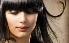 Картинка лицо, ресницы, волосы, макияж