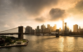 Обои мост, город, отражение, Manhattan, New York City, World Trade Center, Manhattan Bridge