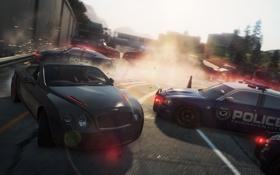 Картинка гонка, полиция, Bentley, погоня, кабриолет, преграда, need for speed most wanted 2