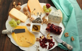 Обои сыр, мед, виноград, орехи, блюдо, изюм, ассорти
