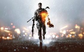 Картинка огни, оружие, дождь, солдат, шлем, экипировка, каска