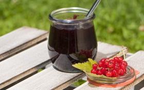 Обои ягоды, красная, смородина, джем, варенье, баночка