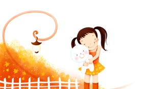 Обои игрушка, забор, фонарик, девочка, детские обои, юбочка, хвостики