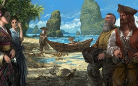 Обои море, пальмы, девушки, скалы, азия, корабль, черепаха