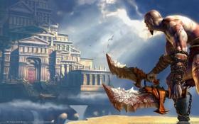 Картинка облака, замок, кратос, god of war 2