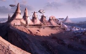 Обои песок, небо, горы, корабли, Город