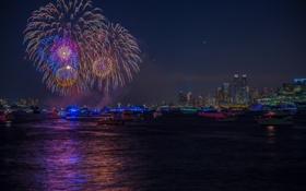 Обои ночь, город, праздник, феерверк, Fireworks, July 4, New York City-2