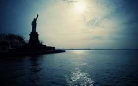 Картинка New York City, Statue of Liberty, silhouette