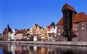 Обои небо, река, дома, залив, набережная, польша, gdansk