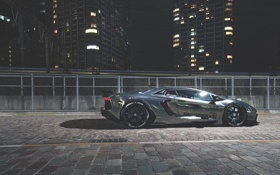 Картинка ночь, lamborghini, night, aventador, ламборгини, авентадор