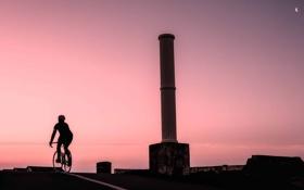 Обои дорога, вечер, велосипедист, England, East Sussex, old Lido