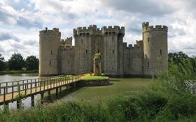 Обои water, castle, bodiam castle