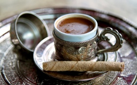 Обои кофе, чашка, трубочка, напиток, пенка