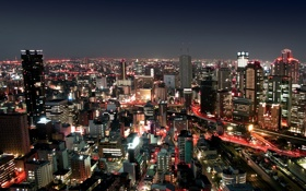 Обои свет, ночь, city, город, здания, light, night