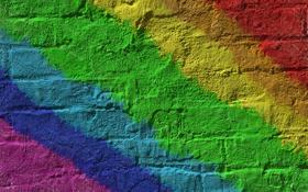 Обои стена, полосы, радуга, цвета, кирпич