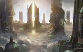 Картинка облака, закат, город, будущее, транспорт, высота, арт