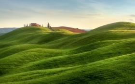 Обои небо, холмы, поля, Италия, усадьба, Тоскана