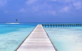 Картинка песок, небо, вода, облака, пейзаж, мост, природа