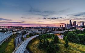 Картинка закат, Сиэтл, город, мост, США