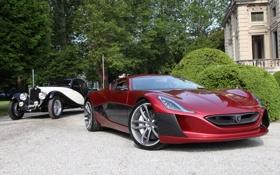 Обои дом, концепт, Alfa Romeo, классика, кусты, Coupe, передок