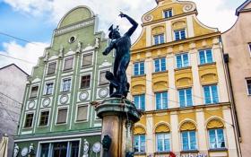 Картинка дома, Германия, Бавария, площадь, фонтан, скульптура, Аугсбург