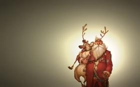 Обои животное, человек, олень, рога, санта клаус, дед мороз, santa claus