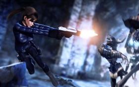 Обои пистолет, прыжок, Tomb Raider, Lara Croft