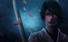 Обои меч, катана, лепестки, слезы, арт, самурай