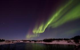Картинка звезды, Исландия, ночь, вода, огни, деревья, северное сияние