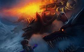Обои снег, оружие, войны, арт, волки, World of Warcraft Tribute, Rise of Lycans