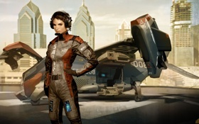 Обои Deus Ex, девушка, пилот, самолет, арт, игра, графика