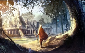 Обои замок, дерево, бабочка, арт, путник, лианы